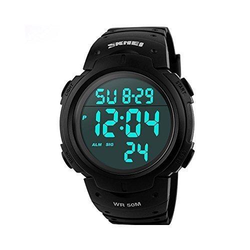 aposon Herren Military Digital Sport Armbanduhr mit Fashion Design Elektronischer LED Display wasserabweisend schwarz