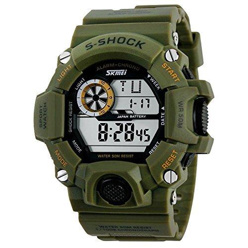 aposon Herren Military Digital Outdoor Elektronische Wasserfestes LED Sport Armbanduhr mit s shock Multifunktional Armee Gruen