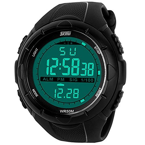 aposon Herren multifunktionelle Military Wasserdicht Big Fall Gummi Band Digital LED Sport Armbanduhr Schwarz