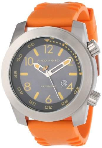 Android Herren Octopuz Stainless Steel Rubber Strap Armbanduhr Orange AD589BRG