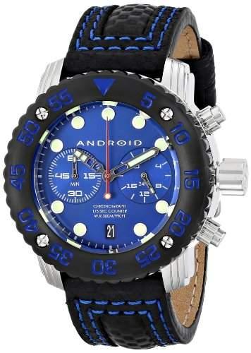 Android Mens AD729BKBU Analog Display Japanese Quartz Black Watch