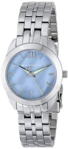 Android Damen-Armbanduhr 32mm Armband Edelstahl + Gehäuse Quarz Zifferblatt Blau Analog AD771ABU