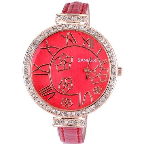 ANEESI Fashion Uhr zu Frauen Luxus beliebten bekannten Marke PU Leder Uhren Damen kleiden Cool Girls Blumen roman Stunden Uhr