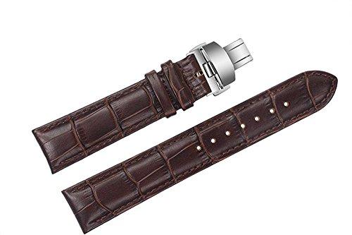 19 mm braun Ersatz Leder Uhrenarmband Bands Deployment double push Schnalle fuer Tissot 1853