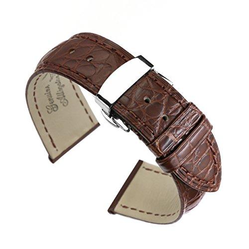 21 mm Braun High End Alligator Leder Uhrenarmband Bands Ersatz Deployment double push Schnalle fuer Luxus Uhren
