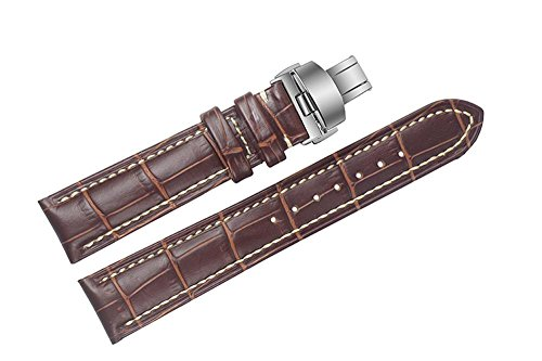 19 mm braun LUXUS Italienisches Leder Ersatz Uhrenarmband Bands handgefertigt mit weissen Naehten