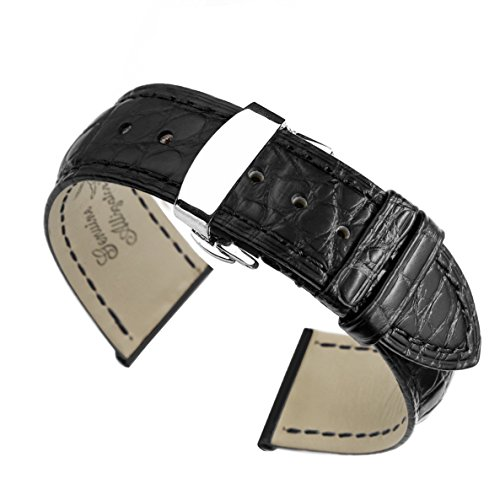21 mm schwarz High End Alligator Leder Uhrenarmband Bands Ersatz fuer Luxus Uhren