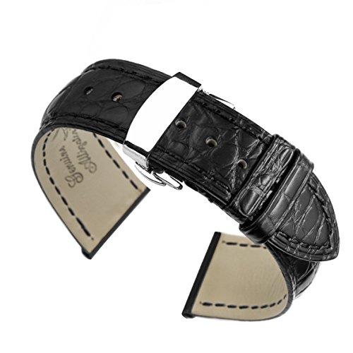 20 mm schwarz High End Krokodil Leder Uhrenarmband Baender Ersatz handgefertigt fuer Luxus Uhren