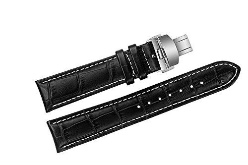 20 mm schwarz Luxus Ersatz Leder Uhrenarmband Bands mit Weiss Naehte fuer Tissot 1853