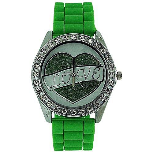 ASHLEY LOVE Damen Glitzer Uhr mit Herz Diamant design auf Ziffernblatt und gruenem Gummiarmband