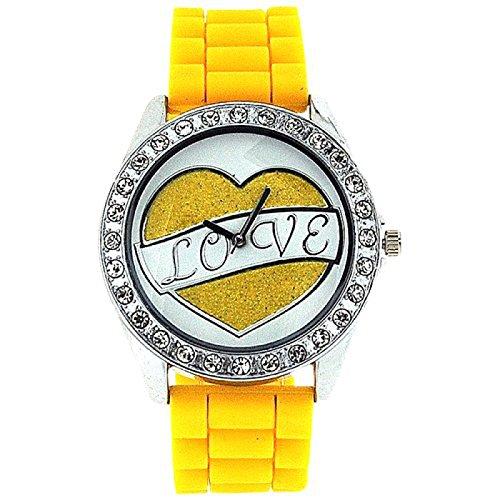 ASHLEY LOVE Damen Glitzer Uhr mit Herz Diamant design auf Ziffernblatt und gelbem Gummiarmband