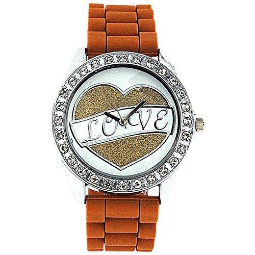 ASHLEY LOVE Damen Glitzer Uhr mit Herz Diamant design auf Ziffernblatt und braunem Gummiarmband