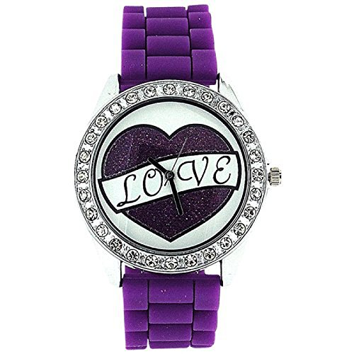 ASHLEY LOVE Damen Glitzer Uhr mit Herz Diamant design auf Ziffernblatt und lilafarbenem Gummiarmband