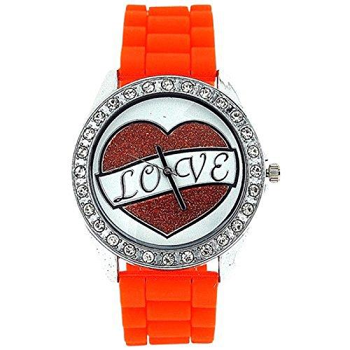 ASHLEY LOVE Damen Glitzer Uhr mit Herz Diamant design auf Ziffernblatt und orangefarbenem Gummiarmband