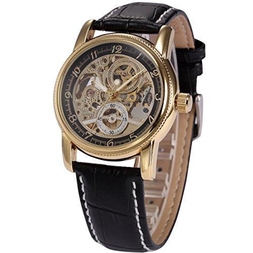 AMPM24 Automatik Mechanik Uhr mit Schwarze Armband aus Leder ORK199