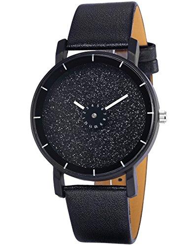 AMPM24 Elegant Quarz Uhr mit Schwarz Zifferblatt und Schwarz Leder Armband WAA936