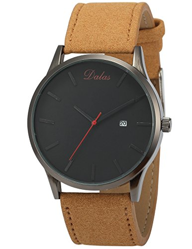 AMPM24 Herren Armbanduhr Quarzuhr mit Datumsanzeige Braun Lederband WAA943