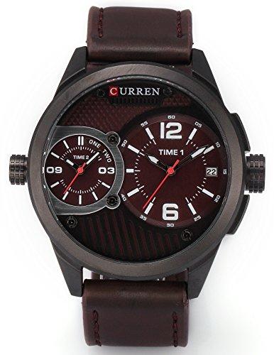 AMPM24 Quarzuhr Datumsanzeige Braun Leder XXL Oversized Uhr CUR111