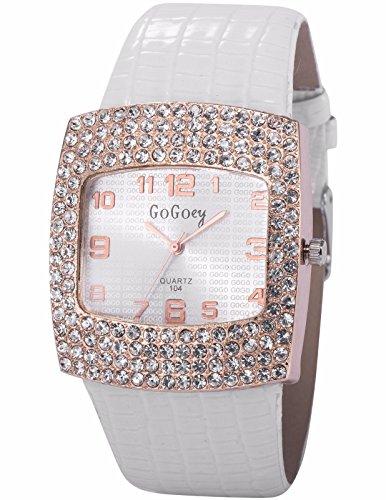 AMPM24 Analog Quarzuhr Kristall Quadrat Zifferblatt Weiss Uhr WAA837