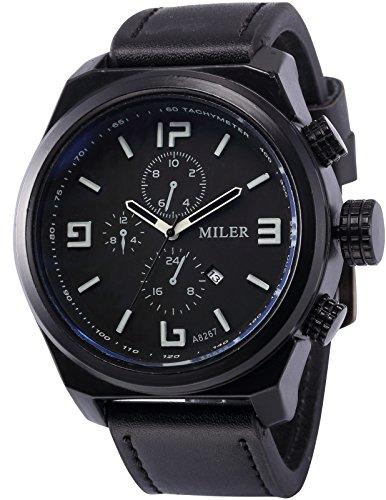 AMPM24 Analog Quarzuhr Schwarz Lederband Datumanzeige Uhr WAA927