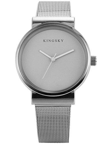 AMPM24 Grau Schlichtes Design Silber Legierung Uhrband WAA1037
