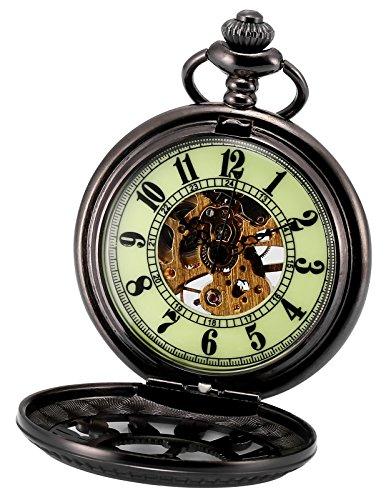 AMPM24 Unisex Classic Retro Handaufzug Mechanische Taschenuhr Arabische Ziffern Skelett Uhr mit Kette und Geschenkbox WPK194