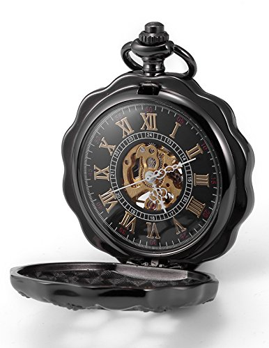 AMPM24 Retro Handaufzug Mechanische Taschenuhr Alien Disign Stylisch Skelett Uhr mit Kette und Geschenkbox WPK195