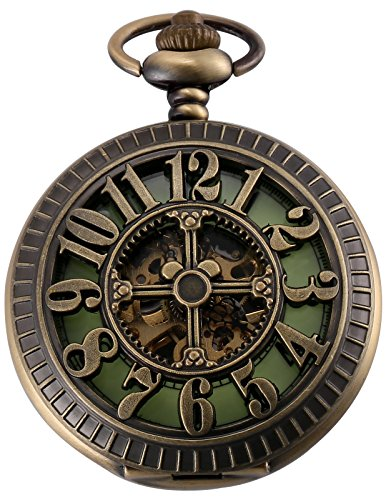 AMPM24 Unisex Classic Retro Handaufzug Mechanische Taschenuhr Arabische Ziffern Skelett Uhr mit Kette und Geschenkbox WPK193