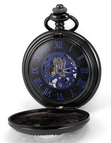 AMPM24 Unisex Classic Retro Handaufzug Mechanische Taschenuhr Roemische Ziffern Skelett Uhr mit Kette und Geschenkbox WPK197