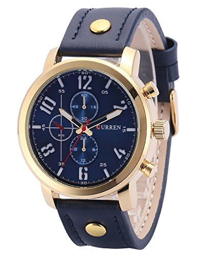 AMPM24 Quarz Analog Blau Leder Casual Uhr CUR125