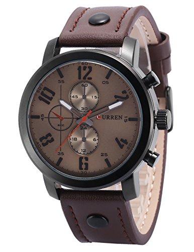 AMPM24 Quarz Analog Braun Leder Casual Uhr CUR128