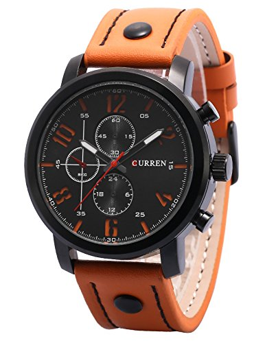 AMPM24 Herren Armbanduhr Quarz Analog Orange Leder Casual Uhr CUR127