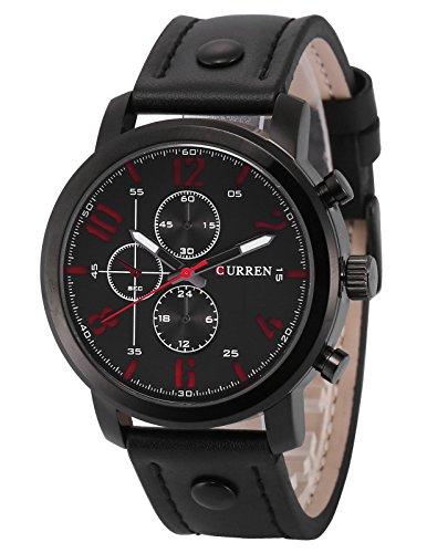 AMPM24 Quarz Analog Schwarz Leder Casual Uhr CUR126