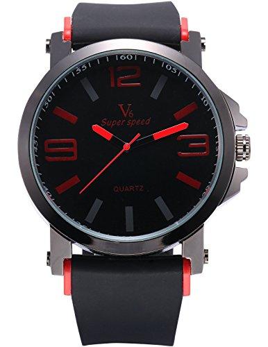 AMPM24 Herren Armbanduhr Analog Quarzuhr Sport Schwarz Gummi Band Rot Uhr WAA848
