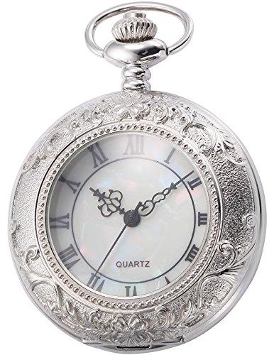 AMPM24 Unisex Silber Taschenuhr Quarzuhr Elegant Uhr mit Kette und AMPM24 Geschenkbox WPK180