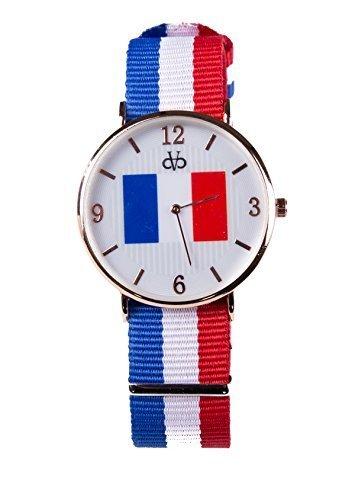 Stoff Armband Streifen Uhr Analog Quarz Frankreich