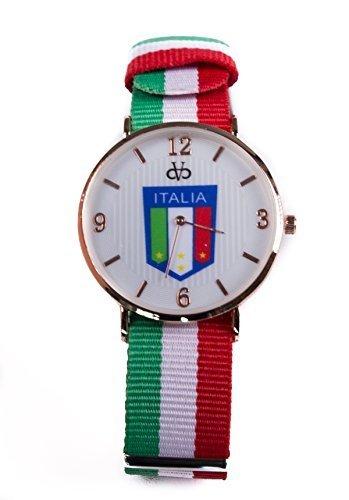 Stoff Armband Streifen Uhr Analog Quarz Italien