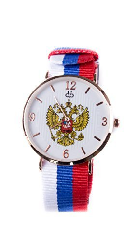 Stoff Armband Streifen Uhr Analog Quarz Russland