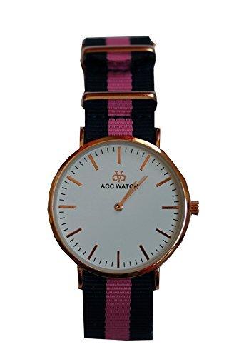 Streifen Armband Uhr Analog Quarz blau pink