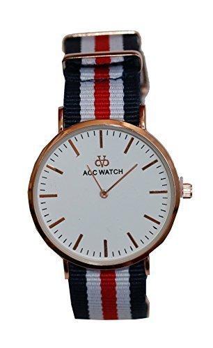 Streifen Armband Uhr Analog Quarz blau weiss rot