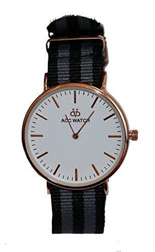 Streifen Armband Uhr Analog Quarz schwarz grau