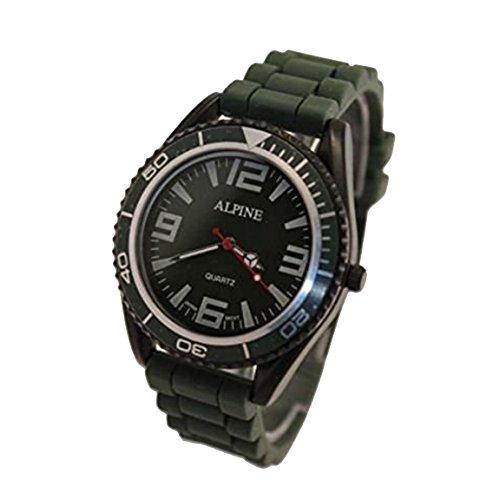 Alpine Unisex Armbanduhr Militaer Gruen Silikon Gummi Band Armee Stil Japanische Uhrenbewegung Analog