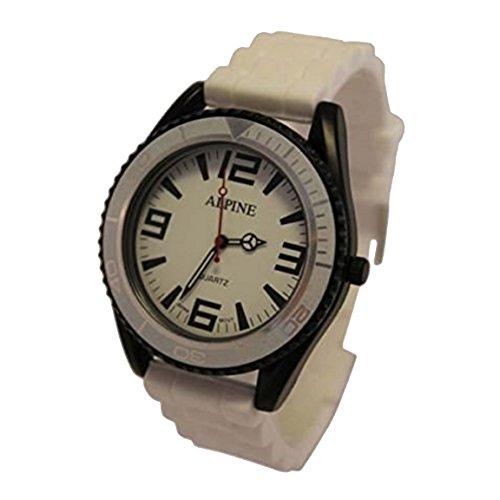 Alpine Unisex Armbanduhr mit Silikon Gummi Armband Armee Still Japanisches Uhrwerk