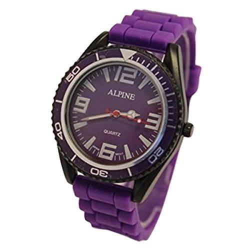 Alpine Unisex Armbanduhr Lila Silikon Gummiband Army Stil Japanisches Uhrwerk