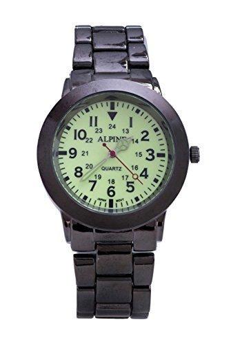 Alpine Gusszinnbronze Uhrenband Leuchtendes Ziffernblatt mit japanischem Uhrwerk