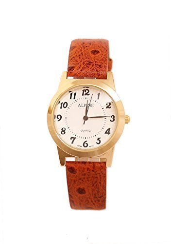 Alpine Maenner s Orange PU Leder Armband Gold vergoldet Uhr Basic klare Zifferblatt