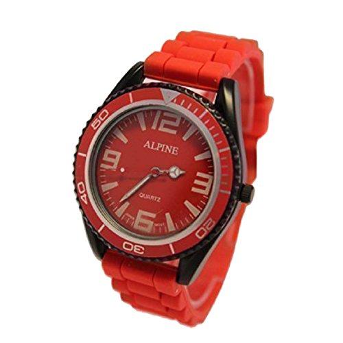 Alpine Spielzeug Stil UNISEX rot Silikon Kautschuk Armband Armee Stil japanischen Bewegung analoge Armbanduhr
