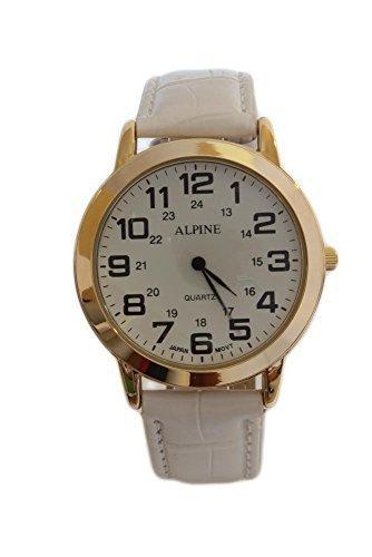 Alpine Maenner s vergoldet weiss PU Leder Armband Analog Quarz zusaetzliche Uhrenbatterie