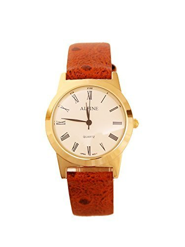 Alpin Herren s vergoldet Orange PU Leder Strap analoge Wrist Watch roemische Zahl