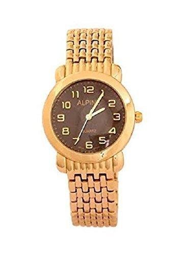 Neue Herren Alpine Golduhr Herren Vergoldete Uhrarmband Schwarzes Zifferblatt mit Goldziffern Japanische Uhrwerk
